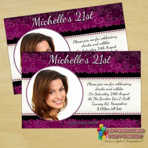 10 Personalised Purple & Black Birthday Party PHOTO Invitations N175